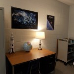 Desk area for lab supplies