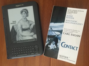 My Kindle and one of my many favorite books.