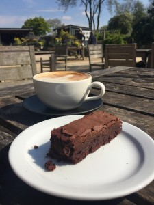 Birthday coffee and GF brownie in the sunshine